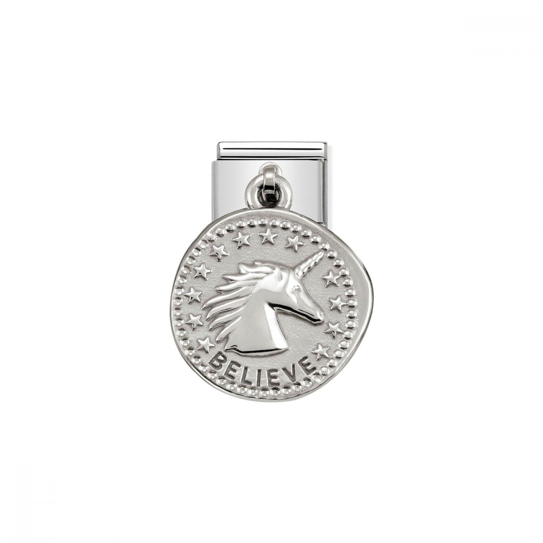 Charm Link NOMINATION, Prata 925, Medalha Wishes Acredita