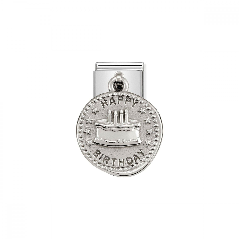 Charm Link NOMINATION, Prata 925, Medalha Wishes Aniversário