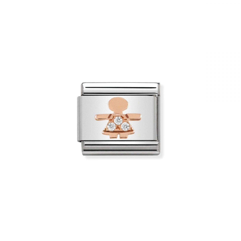 Charm Link NOMINATION, Ouro Rosa 9K, Menina c/ zircónia