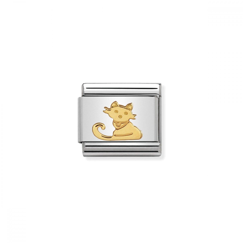 Charm Link NOMINATION, Ouro 18K, Gato sentado