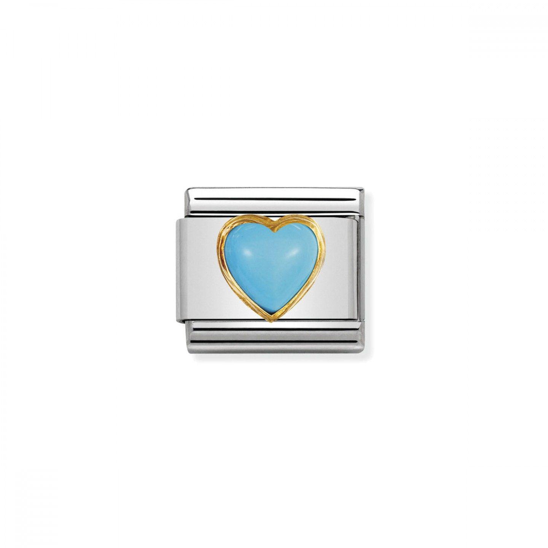 Charm Link NOMINATION, Ouro 18K, Coração pedra turquesa