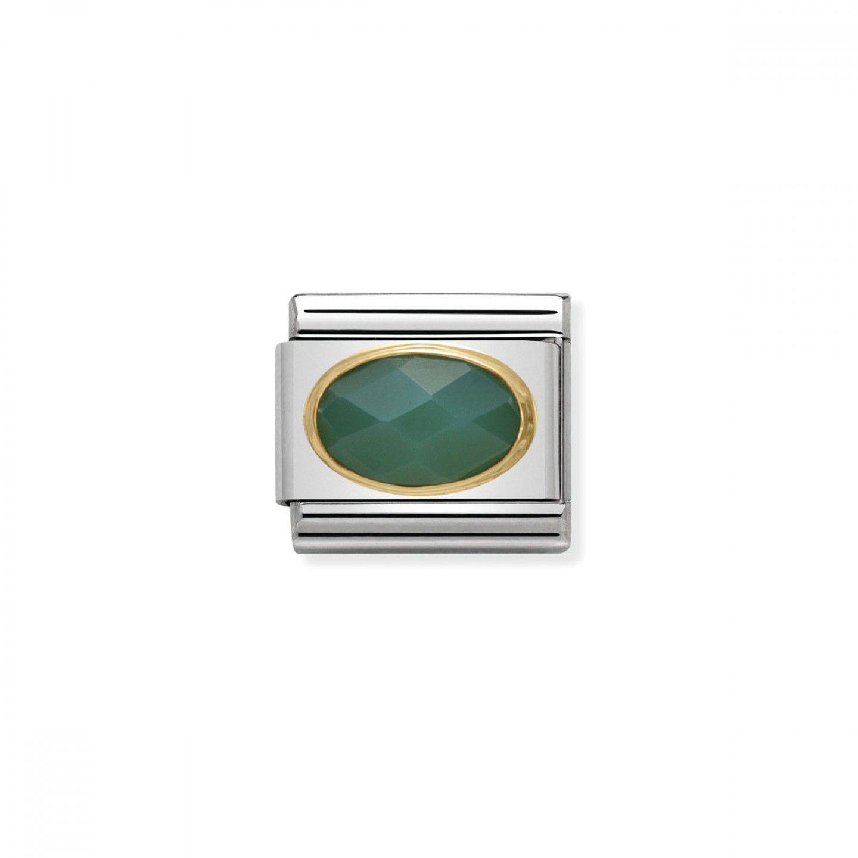 Charm Link NOMINATION, Ouro 18K, Pedra Ágata verde