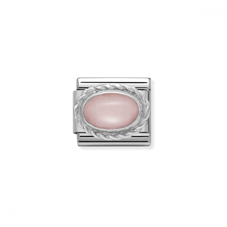 Charm Link NOMINATION, Prata 925, Pedra rosa opal