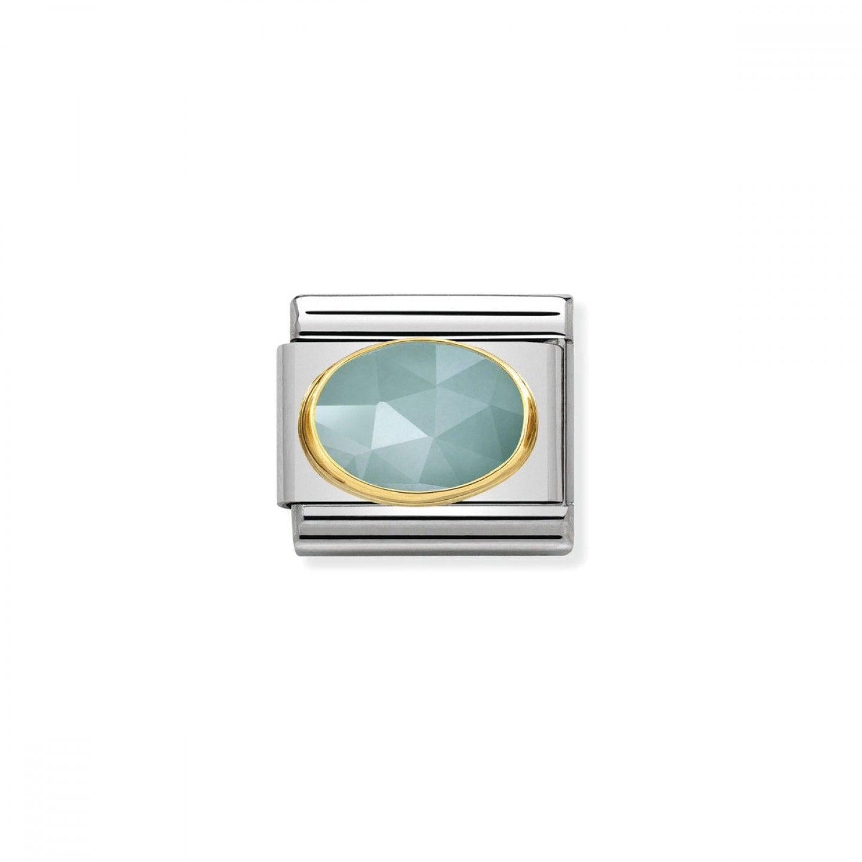 Charm Link NOMINATION, Ouro 18K, Pedra Jade azul clara