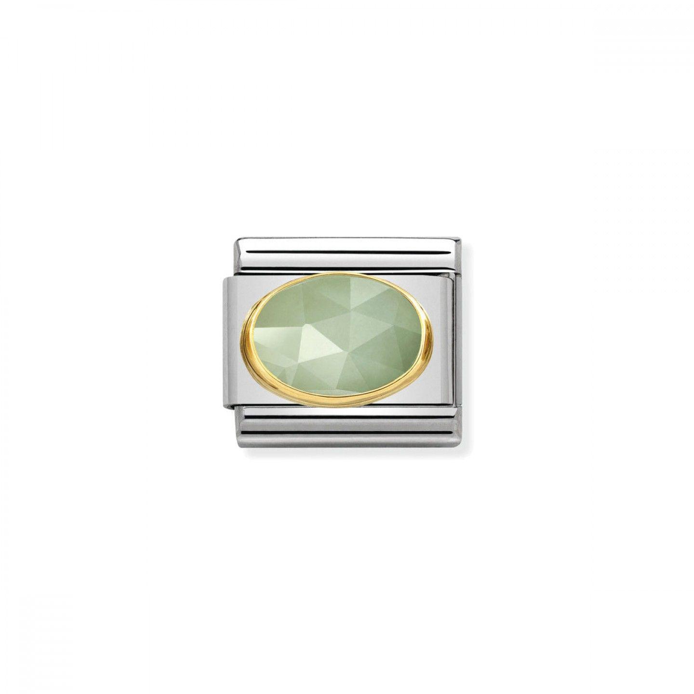 Charm Link NOMINATION, Ouro 18K, Pedra Jade verde marinho
