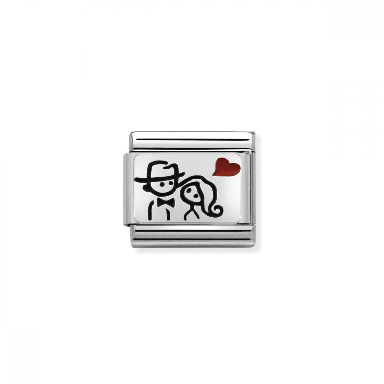 Charm Link NOMINATION, Prata 925, Casal c/ coração vermelho