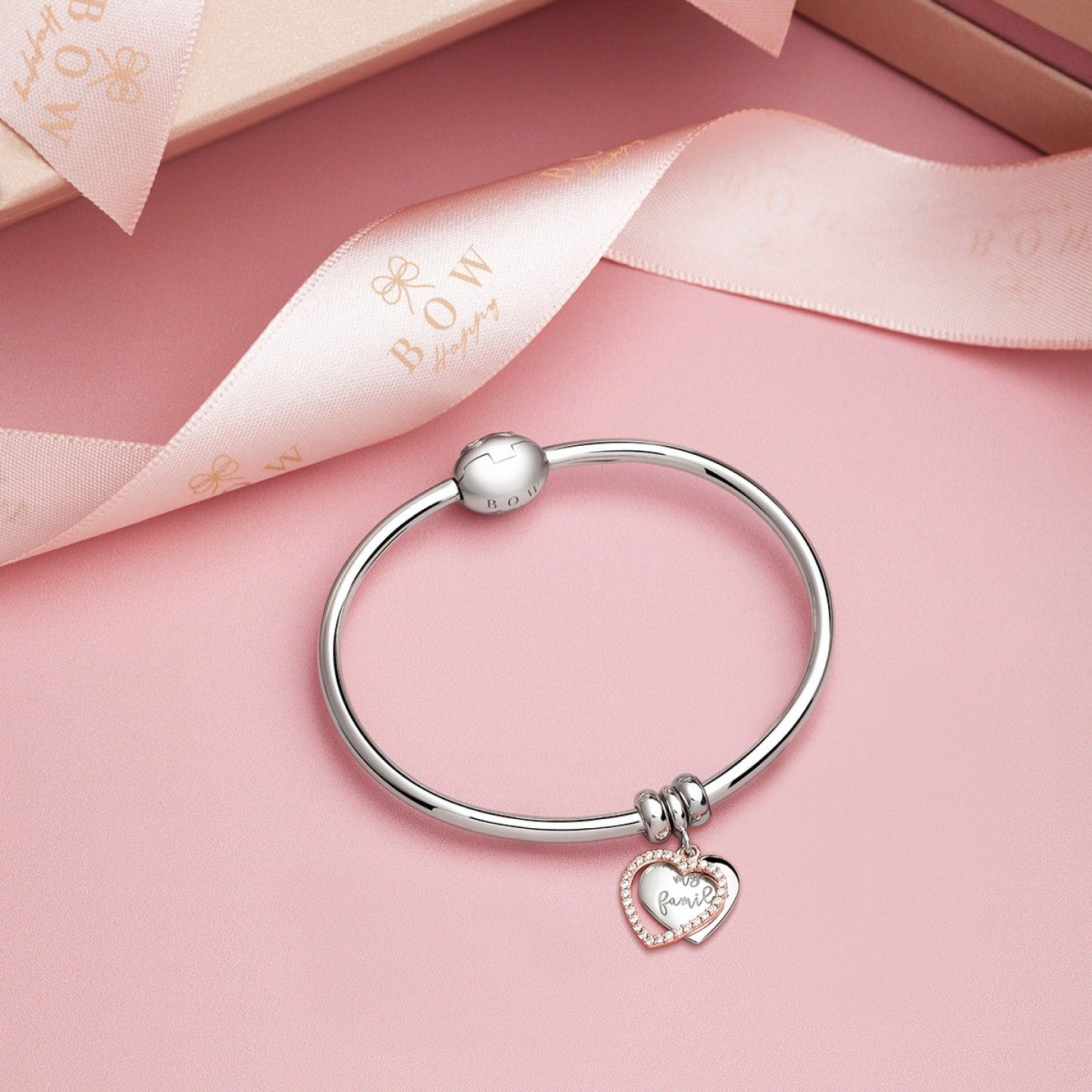 Charm Bow Happy Love Stories Mother´s Day Heart My Family