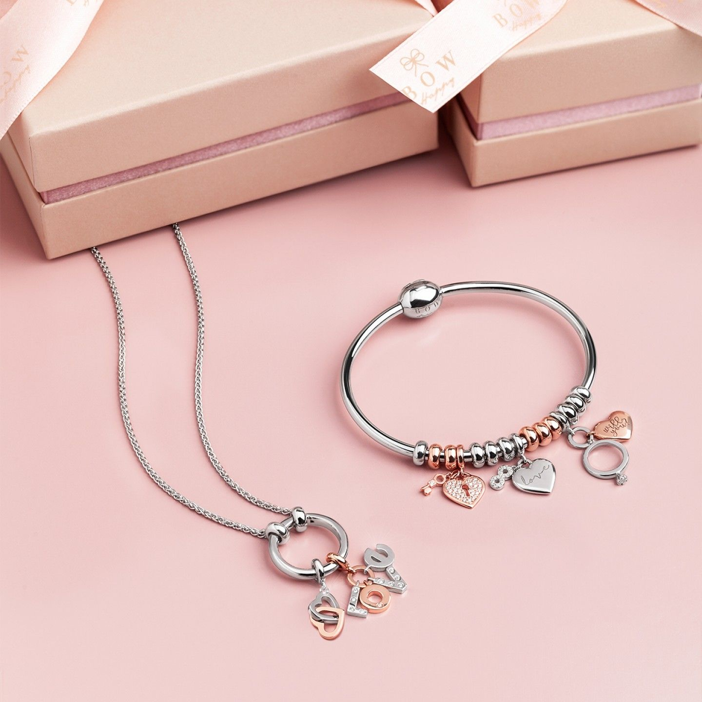 Charm BOW HAPPY Love Stories Connected Heart