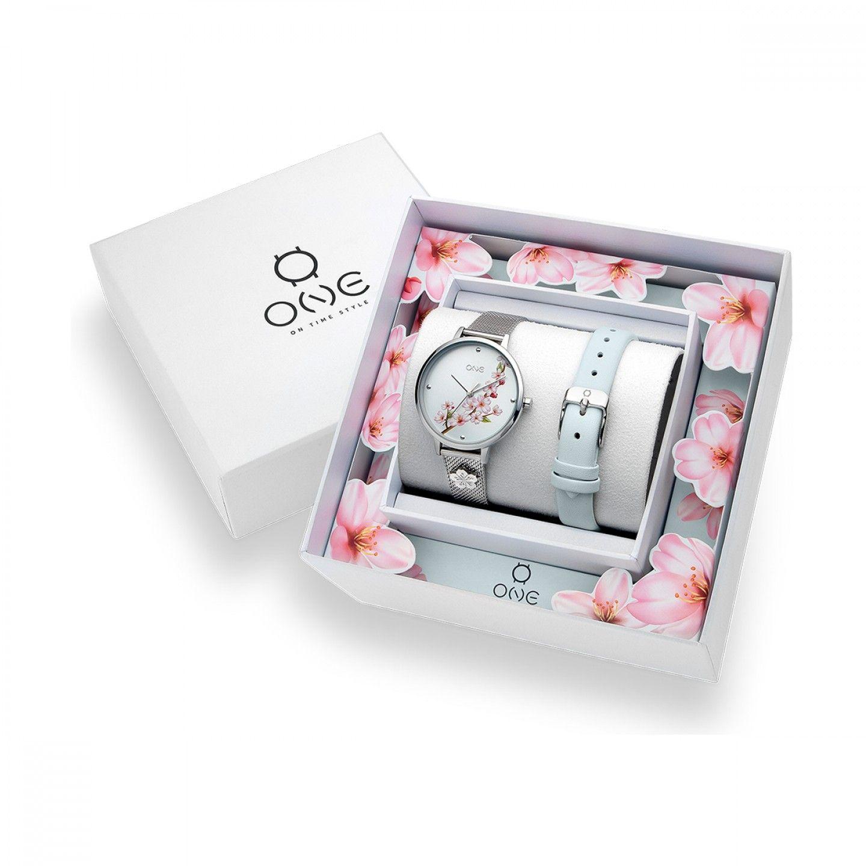 Box Relógio One Tokyo Prateado / Menta