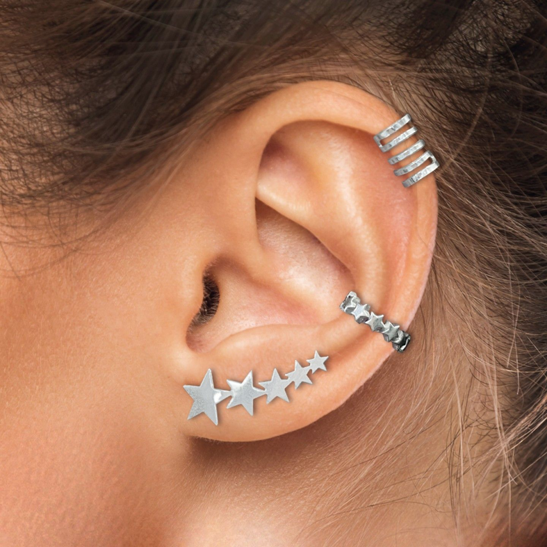 BRINCO UNIKE MIX & MATCH EAR CUFF 5 LINES SILVER