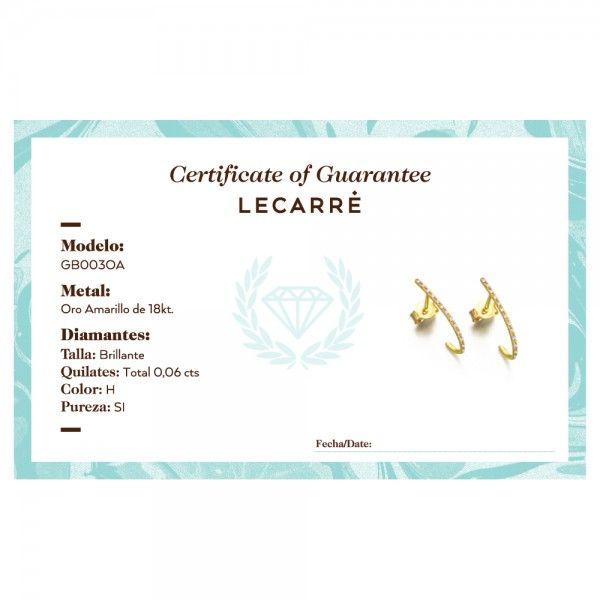 Brincos LECARRÉ ouro 18K diamante 0,06 Q.HSI GB003OA.00