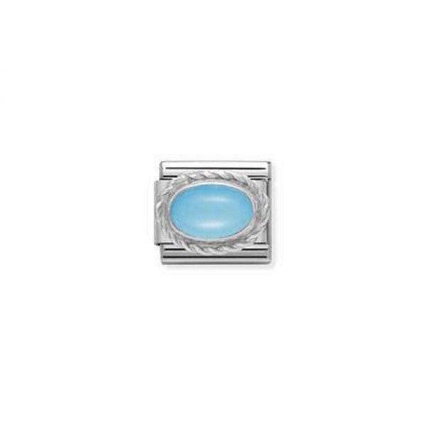 Charm Link NOMINATION, Prata 925, Pedra turquesa 330503-06