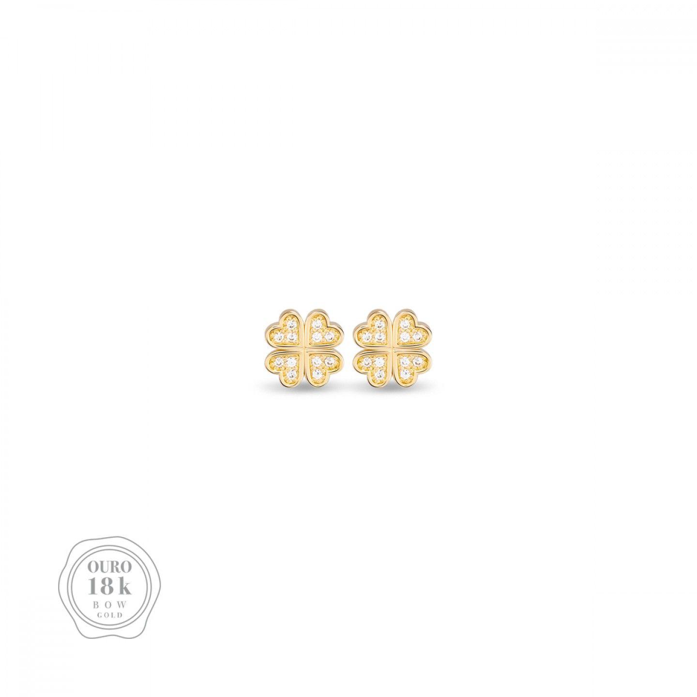 BRINCOS BOW GOLD CLOVER