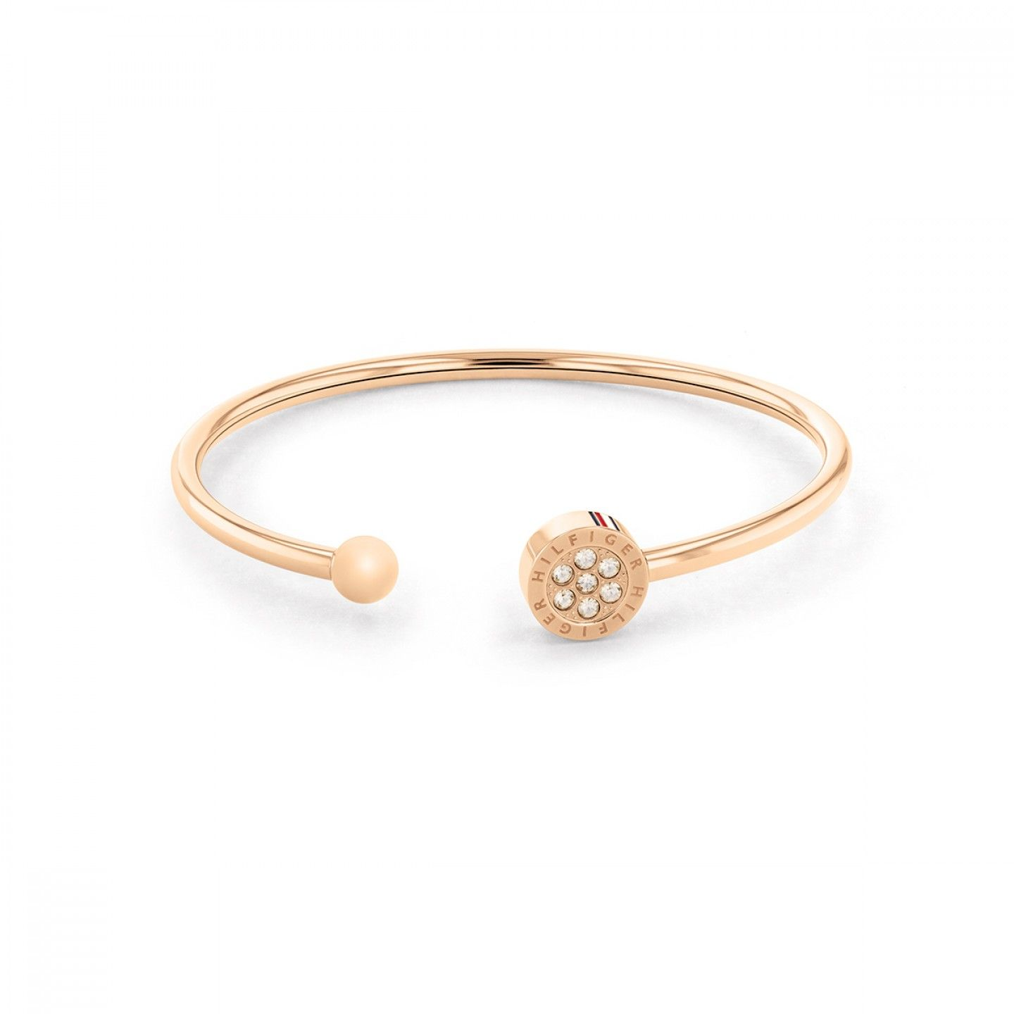 PULSEIRA TOMMY HILFIGER CRYSTAL OURO ROSA
